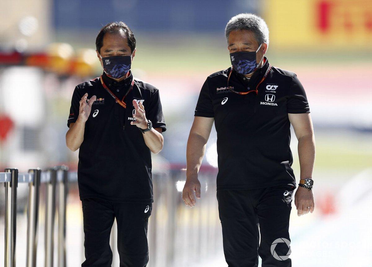Toyoharu Tanabe, F1 Technical Director, Honda and Masashi Yamamoto, General Manager, Honda Motorsport