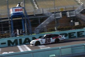 Harrison Burton, Joe Gibbs Racing, Toyota Supra takes the checker flag
