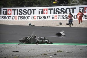 The crashed bike of Franco Morbidelli, Petronas Yamaha SRT