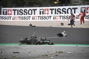 The crashed bike of Johann Zarco, Avintia Racing