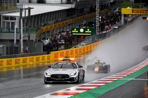 The Safety Car leads Yuki Tsunoda, Carlin, and Guanyu Zhou, UNI-Virtuosi