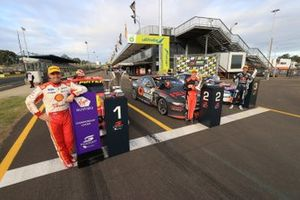 Race winner Scott McLaughlin, DJR Team Penske Ford, second place Lee Holdsworth, Tickford Racing Ford, Third place Jamie Whincup, Triple Eight Race Engineering Holden