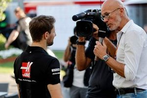 Romain Grosjean, Haas F1 Team talks to the press