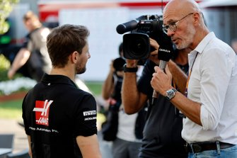 Romain Grosjean, Haas F1 Team talks to the press