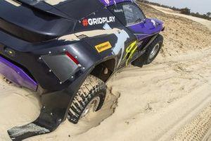 The damaged car of Cristina Gutierrez, Sebastien Loeb, X44, in the final