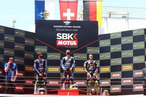 Podio: Luca Bernardi, CM Racing, Dominique Aegerter, Ten Kate Racing Yamaha, Philipp Ottl, Kawasaki Puccetti Racing