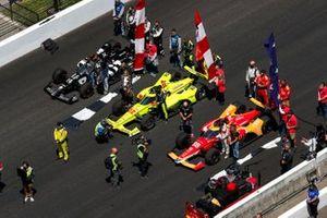 Simon Pagenaud, Team Penske Chevrolet, Marco Andretti, Andretti Herta-Haupert w/Marco & Curb-Agajanian Honda, Sebastien Bourdais, A.J. Foyt Enterprises Chevrolet