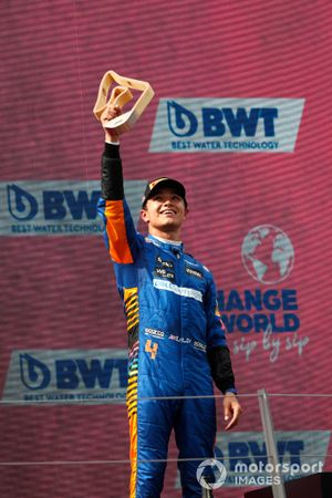 Lando Norris, McLaren , 3rd position, lifts his trophy on the podium
