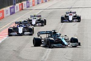 Lance Stroll, Aston Martin AMR21, Nicholas Latifi, Williams FW43B, Mick Schumacher, Haas VF-21, and Nikita Mazepin, Haas VF-21