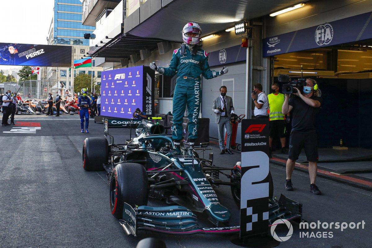 Sebastian Vettel, Aston Martin, 2nd place, celebrates his arrival at Parc Ferme
