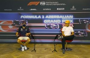Sergio Perez, Red Bull Racing and Lando Norris, McLaren at press conference