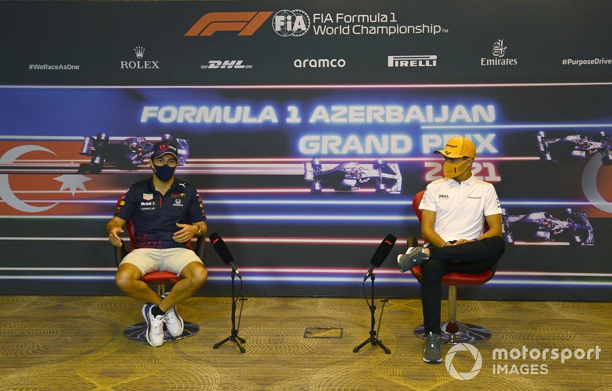 Sergio Perez, Red Bull Racing y Lando Norris, McLaren