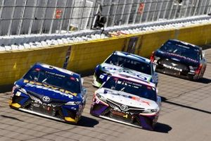 Erik Jones, Joe Gibbs Racing, Toyota Camry Irwin SPEEDBOR and Denny Hamlin, Joe Gibbs Racing, Toyota Camry FedEx Ground