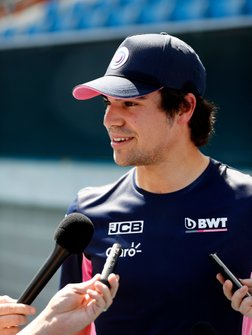 Lance Stroll, Racing Point speaks to the media after playing tennis with Lleyton Hewitt