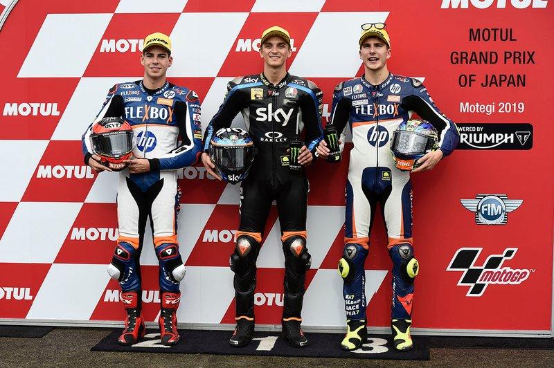 Il poleman Luca Marini, Sky Racing Team VR46, il secondo qualificato Augusto Fernandez, Pons HP40, il terzo qualificato Lorenzo Baldassarri, Pons HP40
