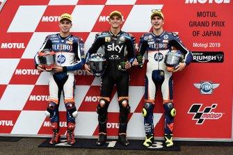 El poleman Luca Marini, Sky Racing Team VR46, segundo Augusto Fernandez, Pons HP40, tercero Lorenzo Baldassarri, Pons HP40