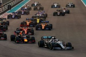 Lewis Hamilton, Mercedes AMG F1 W10, leads Max Verstappen, Red Bull Racing RB15, Charles Leclerc, Ferrari SF90, Sebastian Vettel, Ferrari SF90, Lando Norris, McLaren MCL34, Carlos Sainz Jr., McLaren MCL34, and the rest of the field at the start