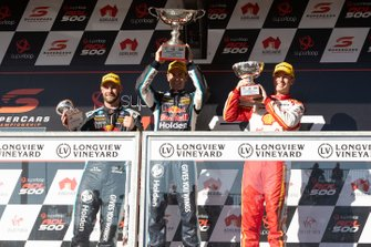 Podium: race winner Jamie Whincup, Triple Eight Race Engineering Holden second place Scott McLaughlin, DJR Team Penske Ford, third place Shane van Gisbergen, Triple Eight Race Engineering Holden