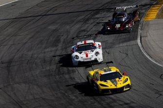 #3 Corvette Racing Corvette C8.R, GTLM: Antonio Garcia, Jordan Taylor, Nicky Catsburg, #912 Porsche GT Team Porsche 911 RSR - 19, GTLM: Laurens Vanthoor, Earl Bamber, Mathieu Jaminet, #55 Mazda Team Joest Mazda DPi, DPi: Jonathan Bomarito, Harry Tincknell, Ryan Hunter-Reay
