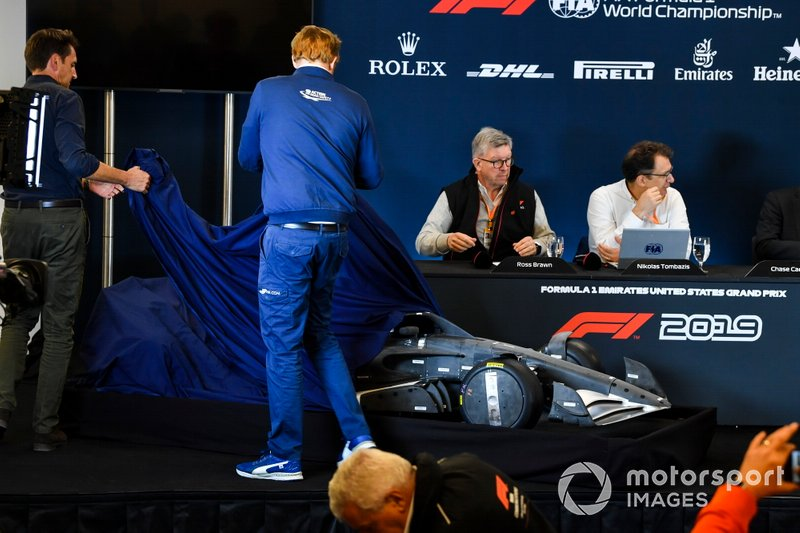 Ross Brawn, Managing Director of Motorsports, FOM, and Nikolaz Tombazi unveil the 2021 Formula 1 regulations in a press conference