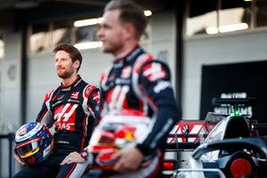 Romain Grosjean, Haas F1 Team, Haas F1 Team and Kevin Magnussen, Haas F1 Team at the unveiling of the Haas VF-20