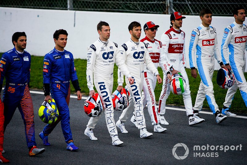 Carlos Sainz, McLaren, Lando Norris, McLaren, Daniel Kvyat, AlphaTauri, Pierre Galsy, AlphaTauri, Kimi Raikkonen, Alfa Romeo, Antonio Giovinazzi, Alfa Romeo George Russell, Williams Racing e Nicholas Latifi, Williams Racing