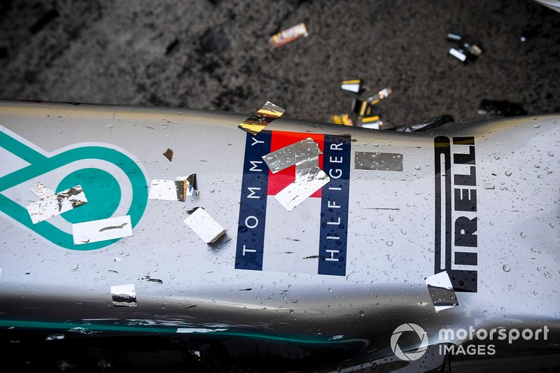 Champagne and confetti on the nose of the Mercedes AMG F1 W10