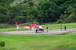 The medical helicopter on standby