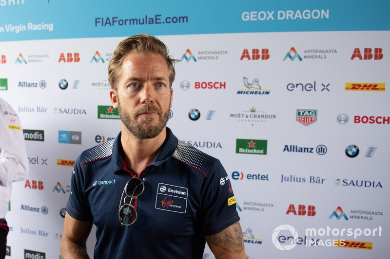 Sam Bird, Virgin Racing talks to the press