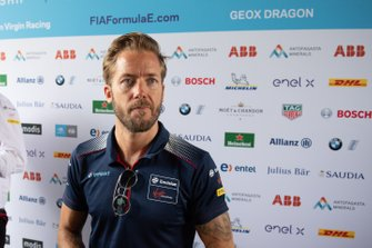 Sam Bird, Virgin Racing talks to the press