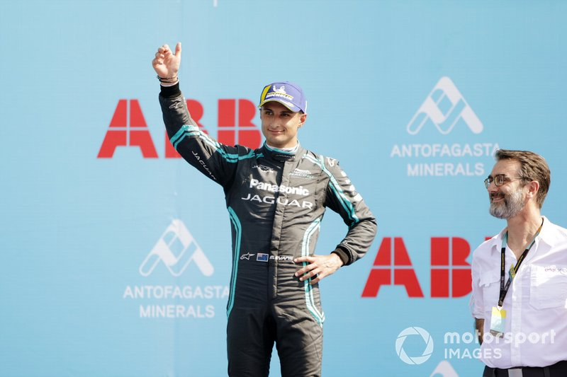 Mitch Evans, Jaguar Racing, celebrates on the podium