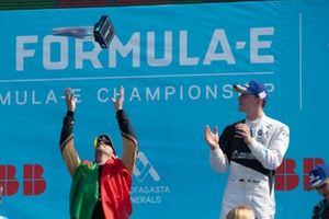 Antonio Felix da Costa, DS Techeetah, 2nd position, throws his trophy into the air on the podium