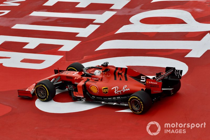 Sebastian Vettel, Ferrari SF90, leaves the track
