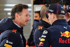 Christian Horner, Team Principal, Red Bull Racing and Max Verstappen, Red Bull Racing