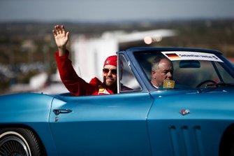 Sebastian Vettel, Ferrari, in the drivers parade