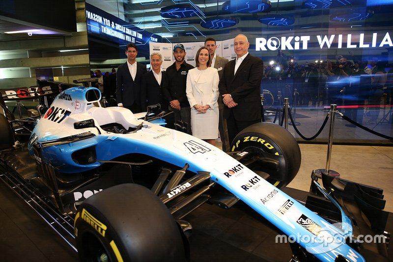 Gyarfas Olah, Manager di Roy Nissany, con Sylvan Adams, Presidente di Roy Nissany F1 Management, Roy Nissany, Tester Ufficiale Williams, Claire Williams, Vicepresidente Williams Racing, Marc Harris, Williams Racing Young Driver Academy e Nehemia Peres