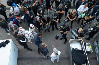 Lewis Hamilton, Mercedes AMG F1, talks to David Coulthard and Steve Jones from Channel 4 television