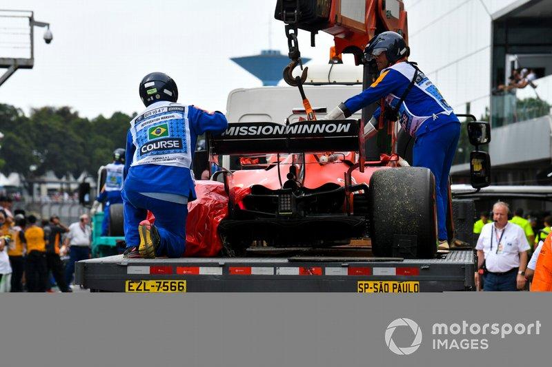 El monoplaza dañado de Sebastian Vettel, Ferrari SF90