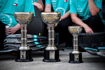 Trophies from the Race winner Valtteri Bottas, Mercedes AMG F1, third place Lewis Hamilton, Mercedes AMG F1 and the winning constructors trophy
