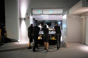 The Corvette team moves the 2020 #4 Corvette Racing Corvette C7.R, GTLM into place for the introduction to the racing world.
