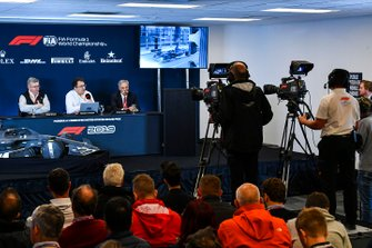 The 2021 Formula 1 technical regulations are announced, Ross Brawn, Managing Director of Motorsports, FOM, Nikolas Tombazis and Chase Carey, Chairman, Formula 1