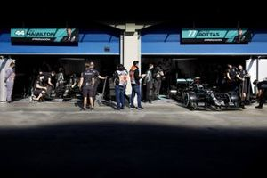 Valtteri Bottas, Mercedes F1 W11, leaves the garage