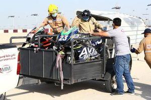Enea Bastianini, Esponsorama Racing and Lorenzo Savadori, Aprilia Racing Team Gresini's crashed bikes