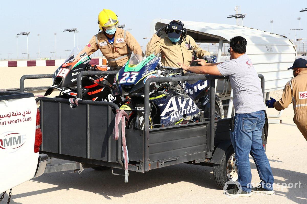 Enea Bastianini, Esponsorama Racing y Lorenzo Savadori, motos accidentadas del Aprilia Racing Team Gresini