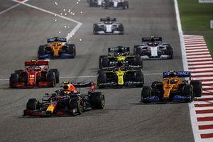 Alex Albon, Red Bull Racing RB16, Lando Norris, McLaren MCL35, Esteban Ocon, Renault F1 Team R.S.20, Charles Leclerc, Ferrari SF1000, and Daniel Ricciardo, Renault F1 Team R.S.20