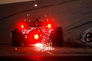 Sparks fly from Antonio Giovinazzi, Alfa Romeo Racing C39