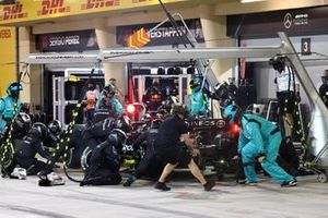 Lewis Hamilton, Mercedes W12, makes a pit stop