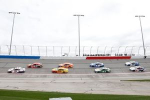 Denny Hamlin, Joe Gibbs Racing, Toyota Camry FedEx Express, Joey Logano, Team Penske, Ford Mustang Shell Pennzoil