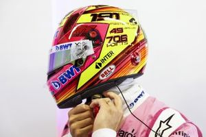 Sergio Perez, Racing Point puts his helmet on for his final qualifying session with Racing Point