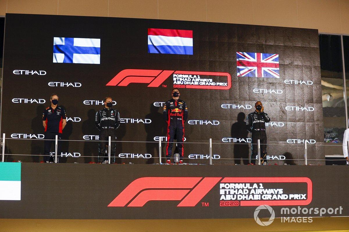 Abu Dhabi - Podium : Max Verstappen, Valtteri Bottas, Lewis Hamilton